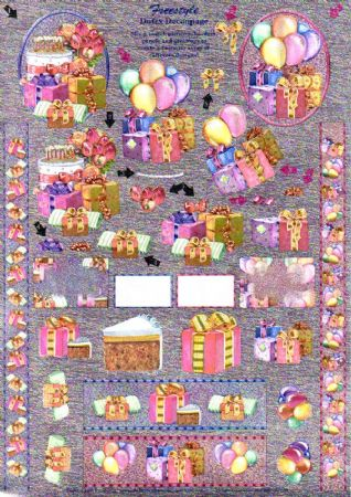 Happy Birthday Party & Festivities Freestyle 3d Decoupage Sheet From Dufex
